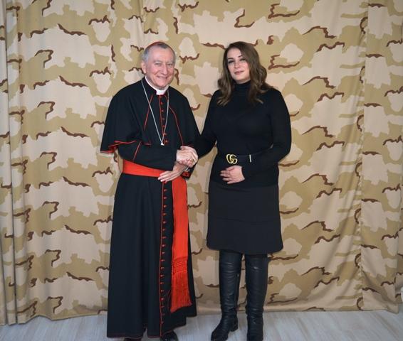 Card. Pietro Parolin, Segretario di Stato vaticano, e Serana Muroni, console d'Italia a Erbil