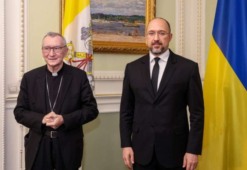 Card Parolin con premier Ucraina Shmyhal - Foto: kmu.gov.ua Presidenza Consiglio Ucraina