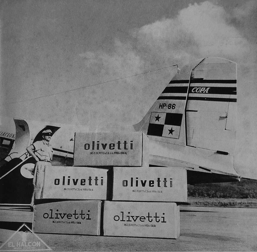 Prodotti Olivetti in viaggio sulle rotte per il Nord e il Sud America, 1954. © Associazione Archivio Storico Olivetti, Ivrea