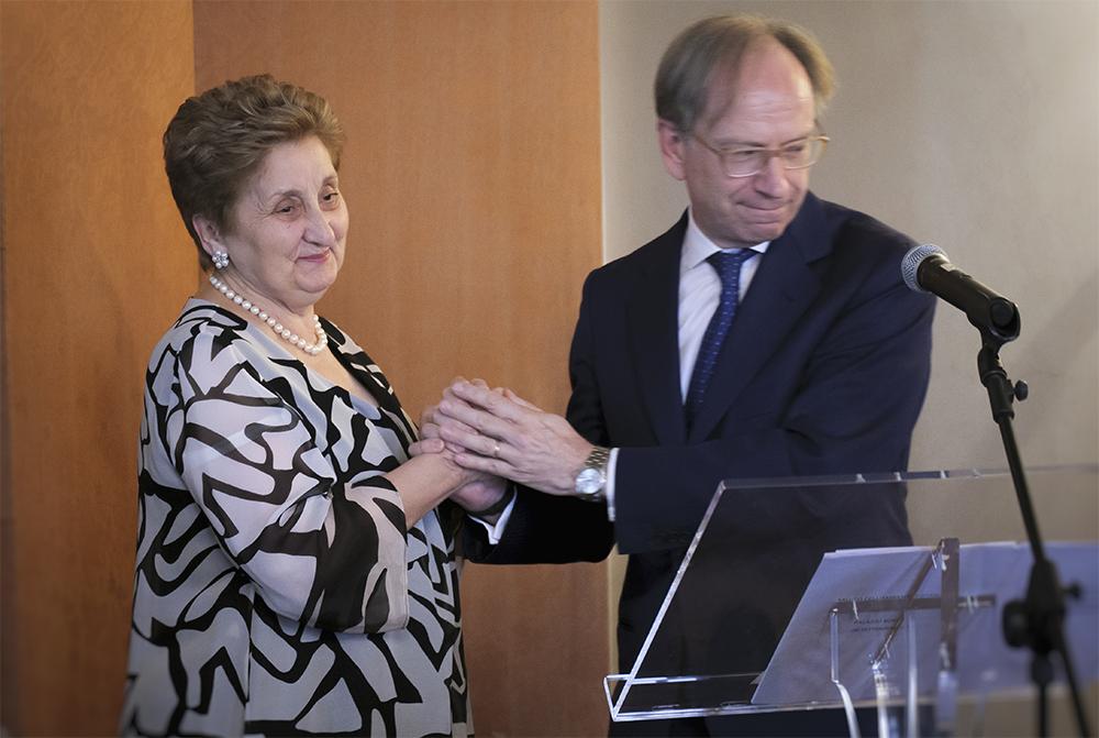 Da sin.: Mariella Enoc e l'amb. Pietro Sebastiani