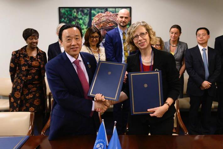 Il direttore generale della FAO, Qu Dongyu, e il direttore esecutivo dell'UNEP, Inger Andersen.