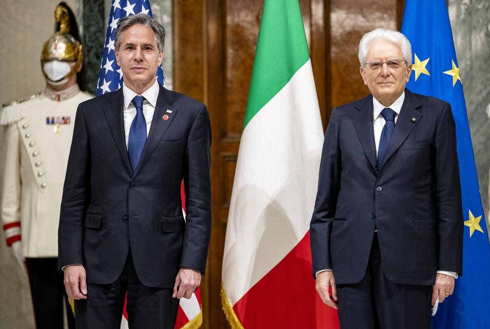 Il Presidente Sergio Mattarella con il Segretario di Stato degli Stati Uniti d'America, Antony John Blinken