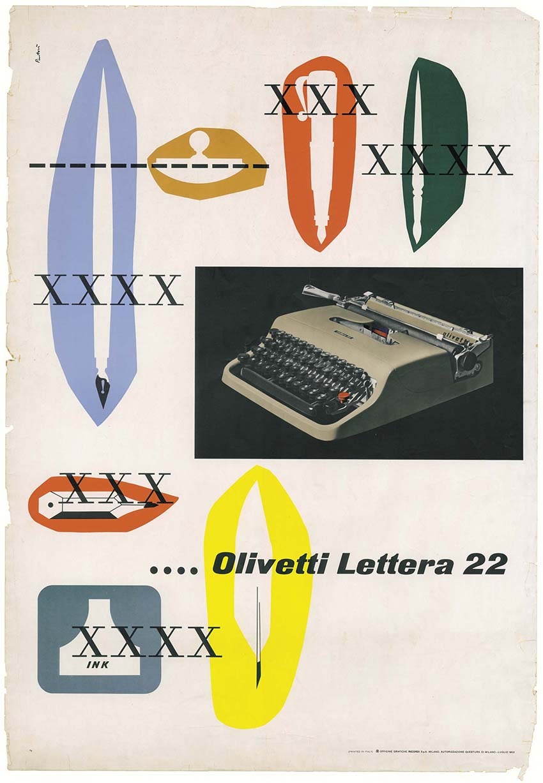 Manifesto pubblicitario di Giovanni Pintori per la Olivetti Lettera 22, 1950. © Associazione Archivio Storico Olivetti, Ivrea