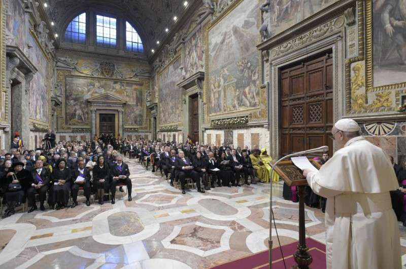 Papa Francesco nell'incontro con il Corpo Diplomatico del 2020 Foto: Vatican Media / ACI Group